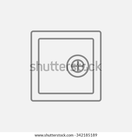 Safe line icon for web, mobile and infographics. Vector dark grey icon isolated on light grey background. - stock vector