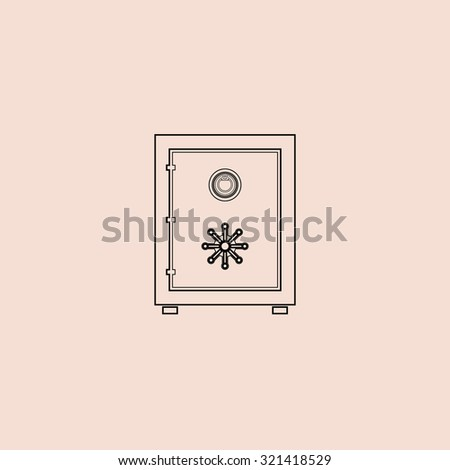 Safe. OOutline vector icon. Simple flat pictogram on pink background - stock vector