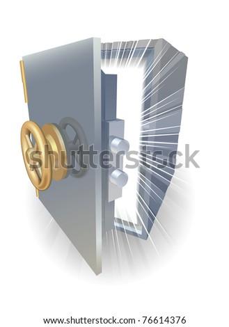 Safe opening containing something amazing - stock vector