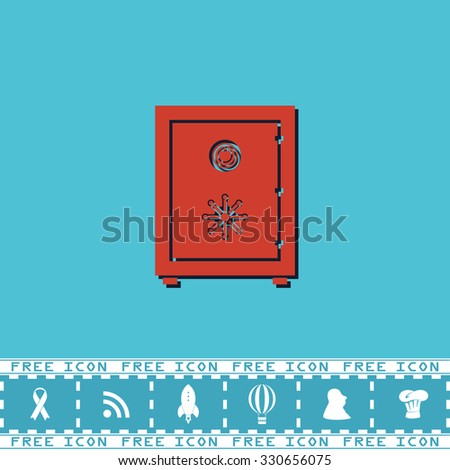 Safe. Red flat symbol with dark shadow and bonus icon. Simple vector illustration pictogram on blue background - stock vector