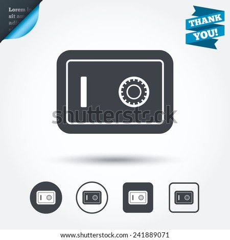 Safe sign icon. Deposit lock symbol. Protection for your documents in hotel. Circle and square buttons. Flat design set. Thank you ribbon. Vector - stock vector