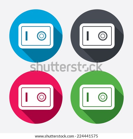 Safe sign icon. Deposit lock symbol. Protection for your documents in hotel. Circle buttons with long shadow. 4 icons set. Vector - stock vector