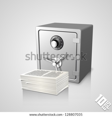 safe with documents - stock vector