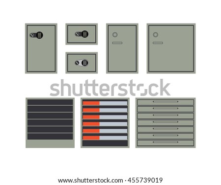 Safes and cabinets for storage of money and documents isolated on white background. Flat style. Vector - stock vector