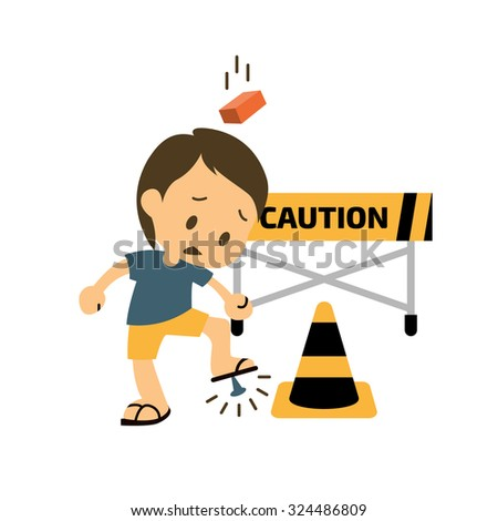 Safety and accident character. Trauma and brick on head, Injuring A Foot. Vector illustration - stock vector