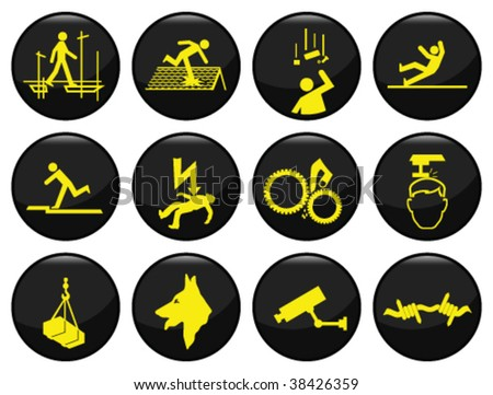 Safety and security black icon set individually layered - stock vector