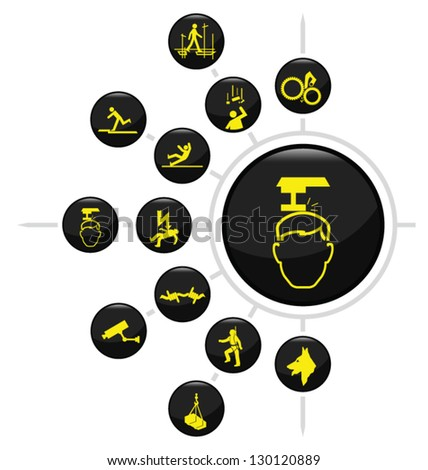 Safety and security icon set isolated on white background - stock vector