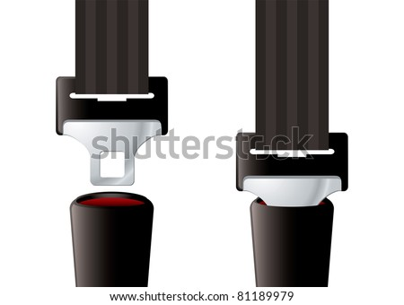 Safety auto seat belt inserted and open - stock vector