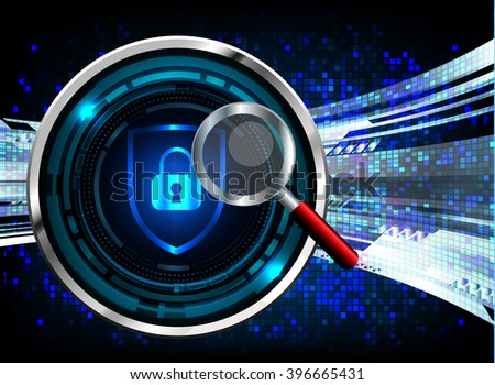 safety concept Closed Padlock on digital background. blue abstract vector hi speed internet technology background illustration. Magnifying Glass - stock vector