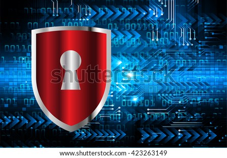Safety concept, Closed Padlock on digital background, cyber security. - stock vector