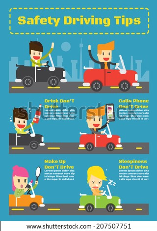 Safety driving tips ,Vector Infographic Elements - stock vector