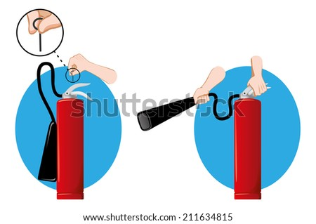 Safety equipment, fire extinguisher dry powder or foam  - stock vector