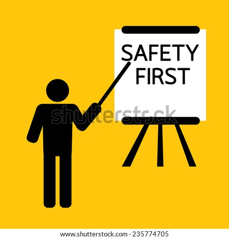 safety first presentation for training or teaching : business concept on yellow background - stock vector