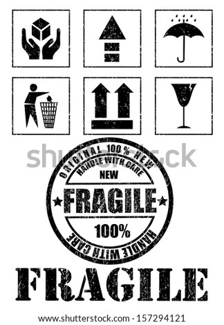 Safety fragile signs and stamp. Vector - stock vector