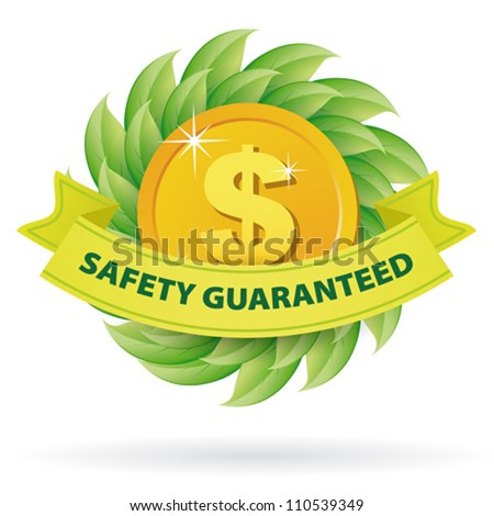Safety Guaranteed green label icon with leaves and tape banner - stock vector