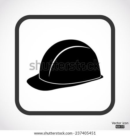 safety hard hat icon - black vector illustration - stock vector