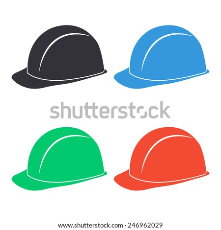 safety hard hat icon - colored vector illustration - stock vector
