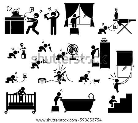 Safety Hazard Home Children Potential Risks Stock Vector