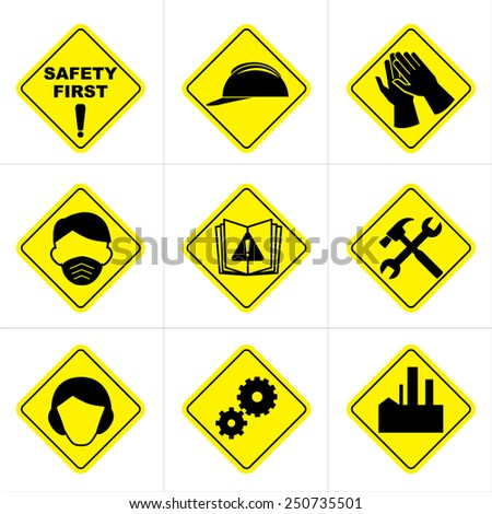 Safety icons and sign collection - stock vector