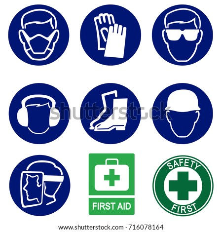 safety icons construction industry health stock vector royalty free
