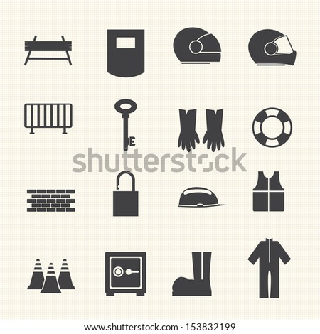 Safety icons set. Vector - stock vector