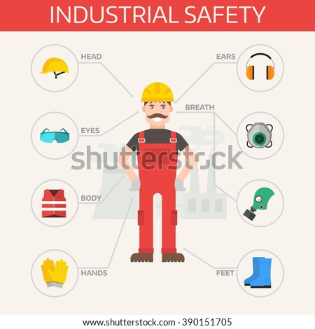 Safety industrial gear kit and tools set flat vector illustration. Industrial safety set. Body protection worker equipment elements infographic. - stock vector