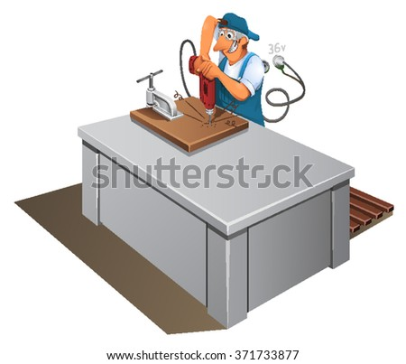 Safety Manual Worker Work Drilling Machine Stock Vector