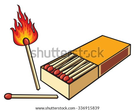 safety matches and matchbox - stock vector