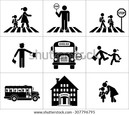 Safety of children in traffic. Children go to school. Pictogram icon set. Crossing the street. - stock vector