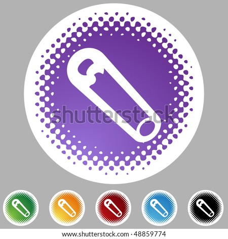 Safety Pin web button isolated on a background. - stock vector