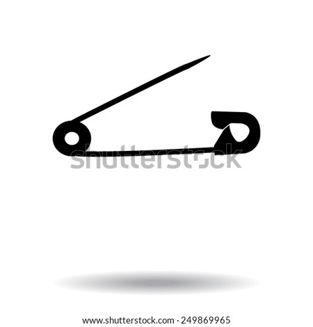 safety pins silhouettes - stock vector