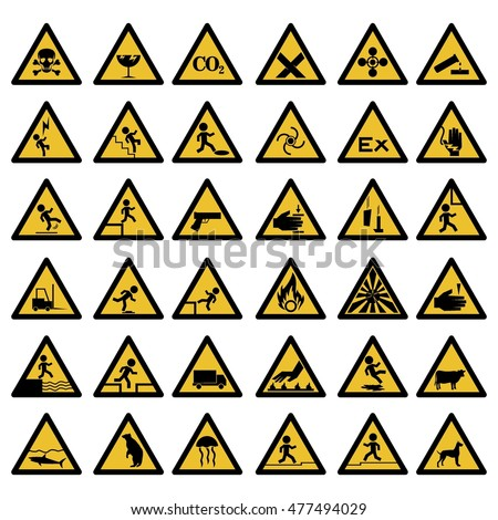 Safety sign, Mandatory sign, Safety instruction,Warning signs, Commanded signs