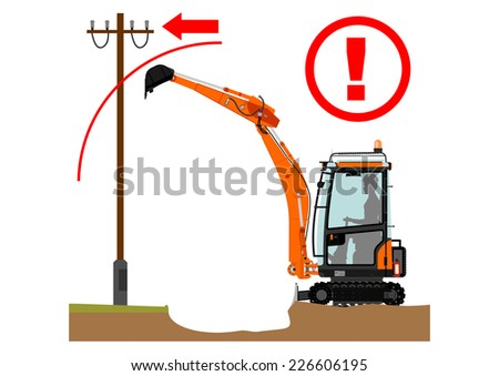 Safety warning for working with excavator. Vector illustration without gradients on one layer.  - stock vector