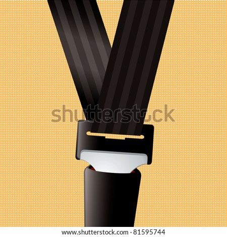 Saftey seat belt clipped in with orange background - stock vector