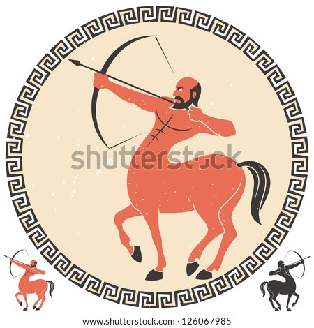 Sagittarius: Centaur shooting an arrow. Two additional smaller versions over white background are included. - stock vector