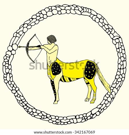 Sagittarius horoscope sign vectorized hand draw - stock vector