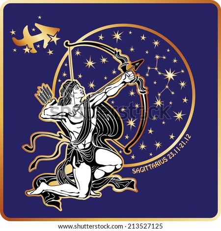 Sagittarius zodia? sign. Horoscope.Muscular man shoots an arrow from a bow.Circle with constellation and stars.Golden and white figure on blue background.Graphic Vector Illustration in retro style.   - stock vector
