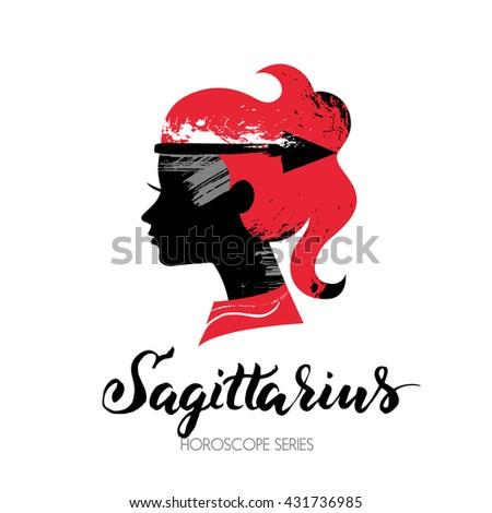 Sagittarius zodiac sign. Beautiful girl silhouette. Vector illustration. Horoscope series - stock vector