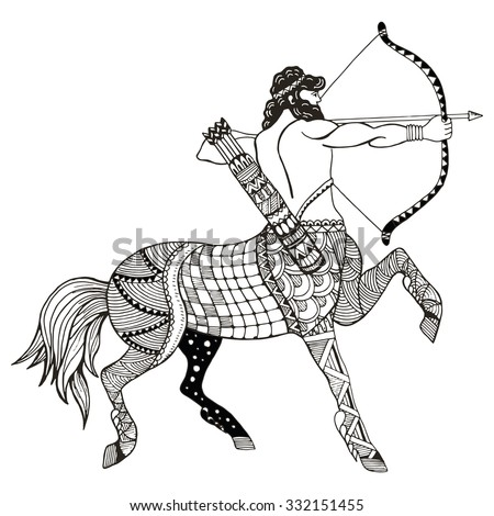Sagittarius zodiac sign vector illustration, zentangle stylized, freehand pencil, hand drawn, pattern, horoscope sign, the archer.