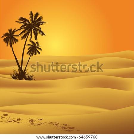 Sahara scenic - stock vector