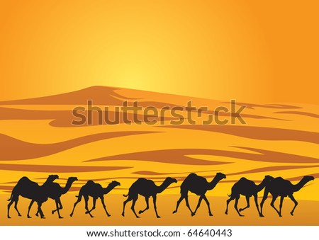 Sahara scenic with camel silhouettes. - stock vector