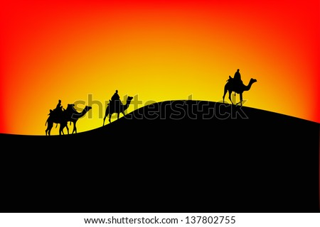 Sahara scenic with camel silhouettes.vector - stock vector