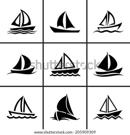 Sail boat icons set vector illustration - stock vector