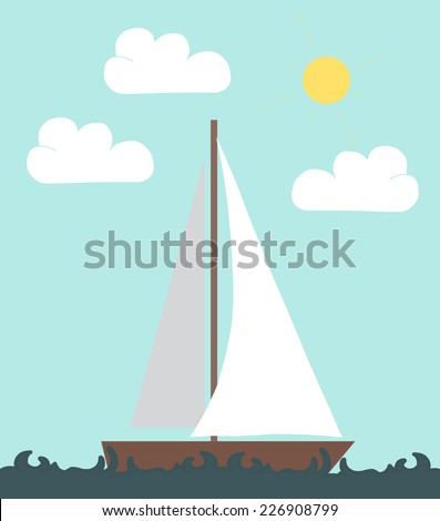 Sail boat in the sea. Vector illustration in flat style. - stock vector