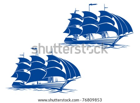 Sail ship in ocean water for travel or another design. Jpeg version also available in gallery