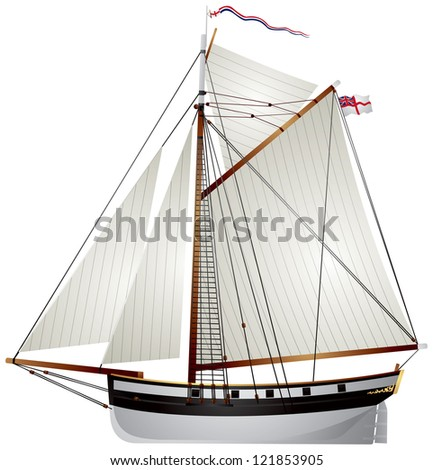 Sailboat ancient yacht, 19th century British Navy 10 Gun Cutter - stock vector