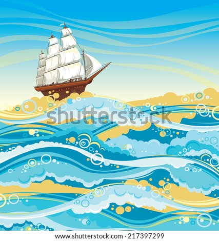Sailboat and sea with waves and foam on a blue sky. Seascape vector. - stock vector