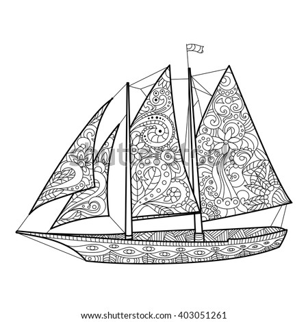 Sailboat coloring book for adults vector illustration. Anti-stress coloring for adult. Zentangle style. Black and white lines. Lace pattern - stock vector