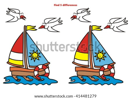 sailboat, find 5 differences