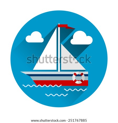 Sailboat flat icon with flat design modern concept